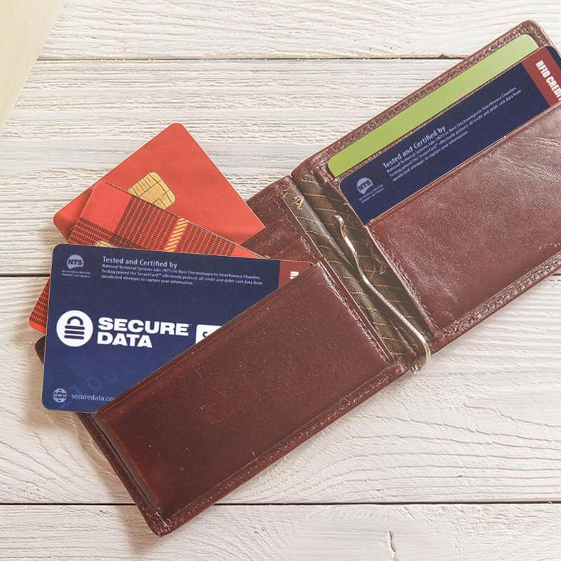 An RFID blocking card can protect multiple cards in a wallet